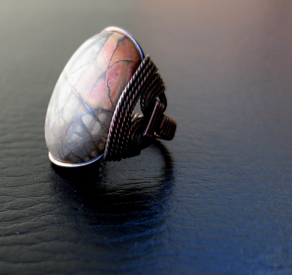 Picasso Jasper Ring, Organic Rustic Oxidized Copper, Wire Wrapped ...