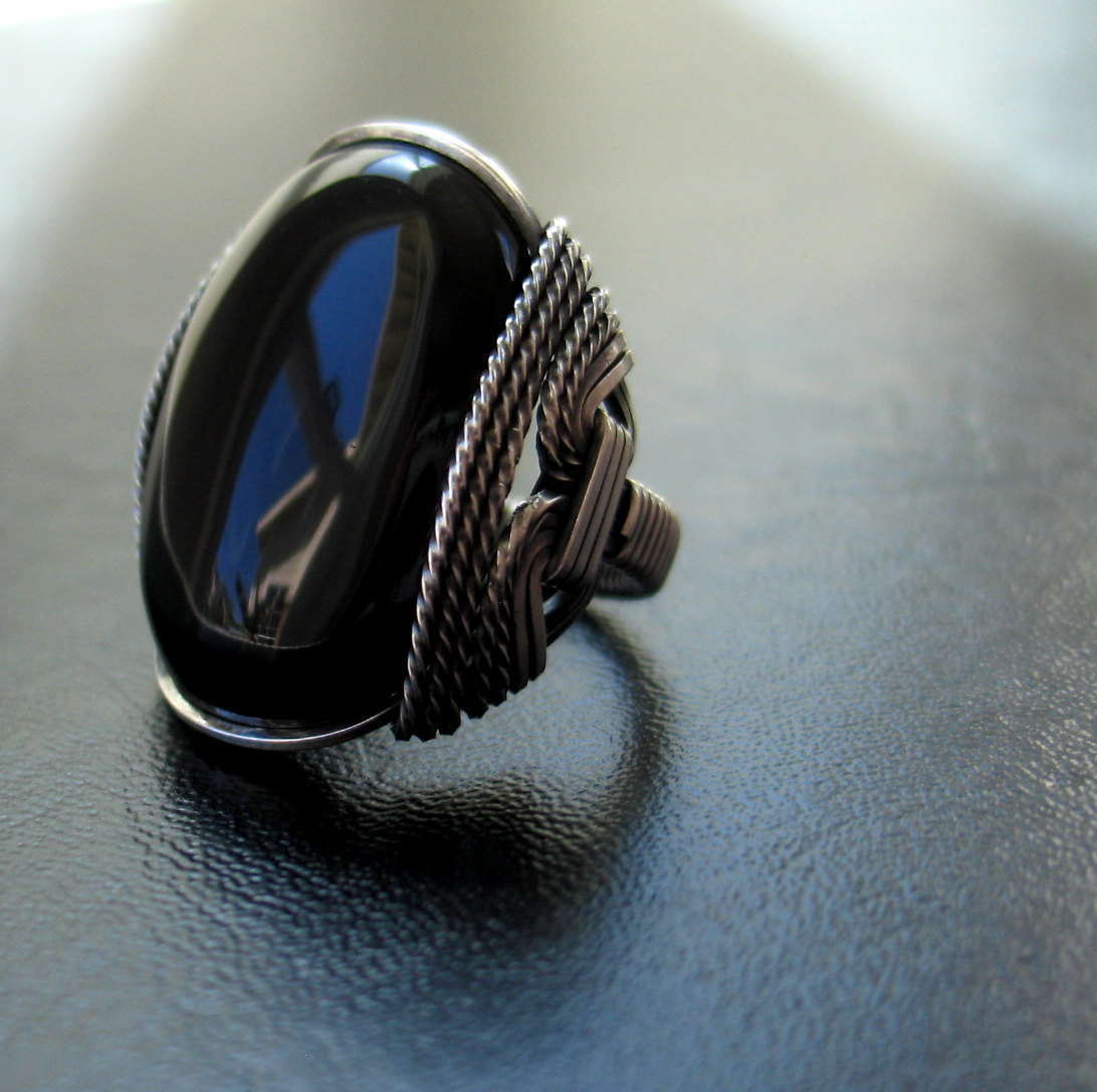 Onyx Ring Mens Ring Black Oval Gemstone Dark Sterling Silver